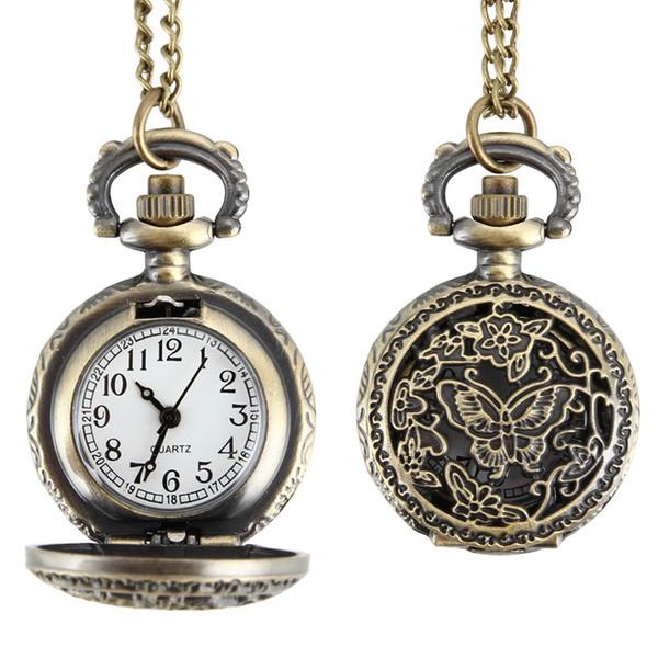 Mujeres de moda reloj de bolsillo de cuarzo aleación ahueca hacia fuera las mariposas collar de cadena suéter colgante reloj regalos LXH