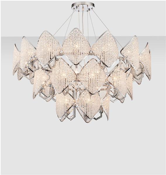 Modern elmas kristal Kolye Işık LED halka Sarkıt oturma odası yatak odası restoran basit dubleks Süspansiyon G842