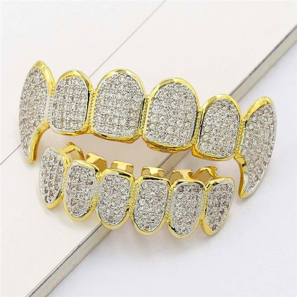 Ice Out Teeth Grillz For Men Bling Bling Cubic Zirconia Hiphop Jewelry 18K Gold Plated Halloween Vampire Grillz