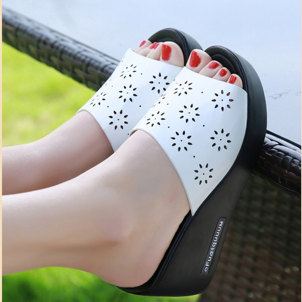 Summer women slippers PU leather high Thick heels Open Toe platform flip flops hollow out women slides shoes woman Wedges Sandal