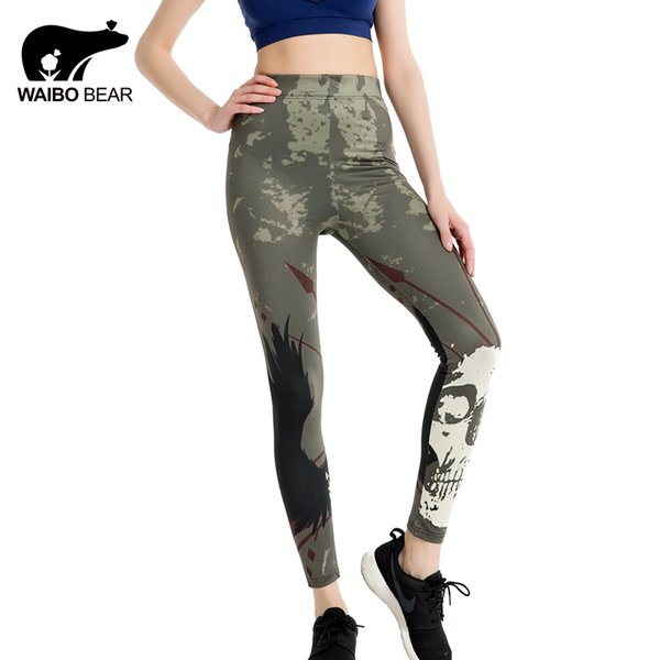 Women Camouflage Print Leggings 3D Face Fitness Slim Trouser Stretch High Waist Pencil Pant Push Up Casual LegginsWAIBO BEAR