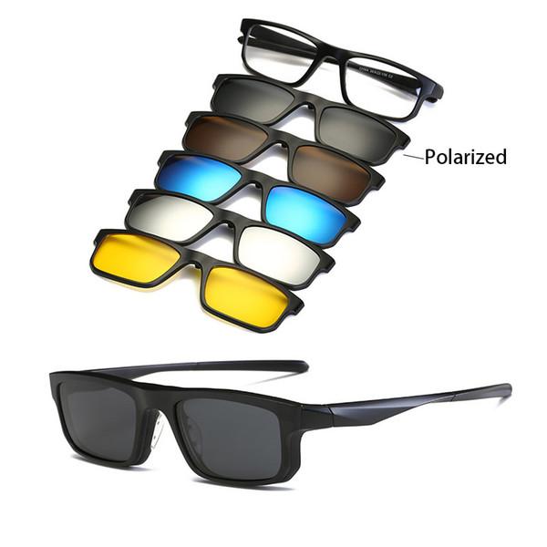 Großhandel Mode Männer Frauen Sonnenbrille Mit Fünf Clip Sonnenbrille Polarisierte Linse TR90 Magnetische Brille Brillen Brillengestell Von Ancient88,