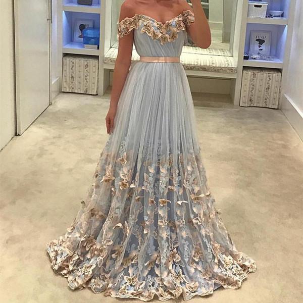 Light Sky Blue Prom Dresses Unique Lace Butterfly Off the Shoulder A Line Tulle Elegant Evening Party Dresses for Graduation Girls 2018