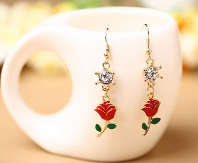new hot Korean jewelry pendant oil dripping gold-plated rose diamond earrings women's fashion classic exquisite elegance