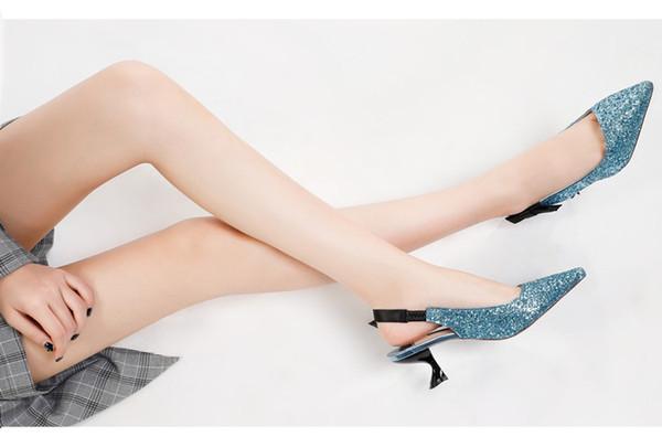 Sandálias Meninas 2018 Primavera New bling bling Ponta de Prata Stiletto Lantejoulas Sapatos De Salto Alto Arco Sapatos de Salto De Gato