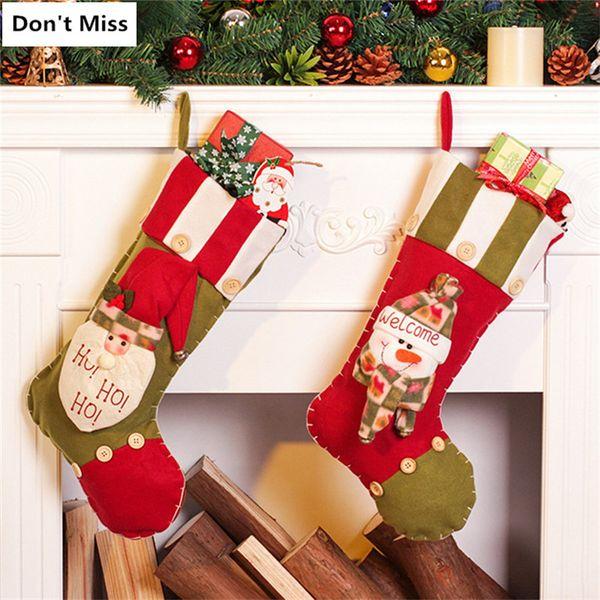 Christmas Decorations for Tree Santa Claus Snowman Christmas Stocking Tree Ornaments Gift Bag Xmas Decor Santa Sacks