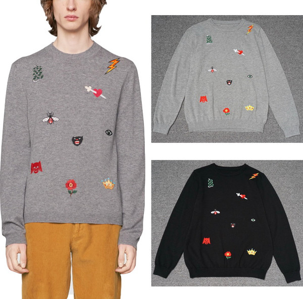 Embroidery Applique Wool Sweaters Men Gray Black Solid Color Round Neck Simple Trim Fit Knitting Warm Knit Tops