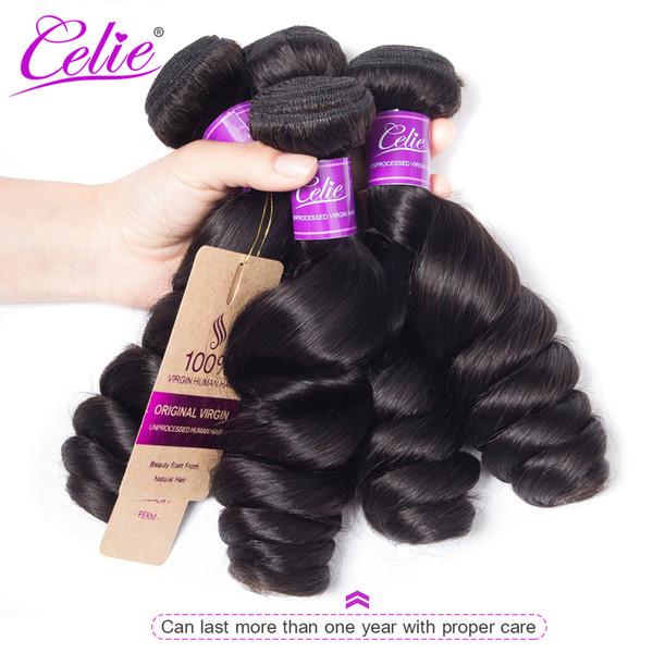 Fasci di Wave sciolti dei capelli di Celle Fasci di tessuto brasiliano dei capelli Bundles 100% estensioni umane di Funmi di Remy Trasporto libero