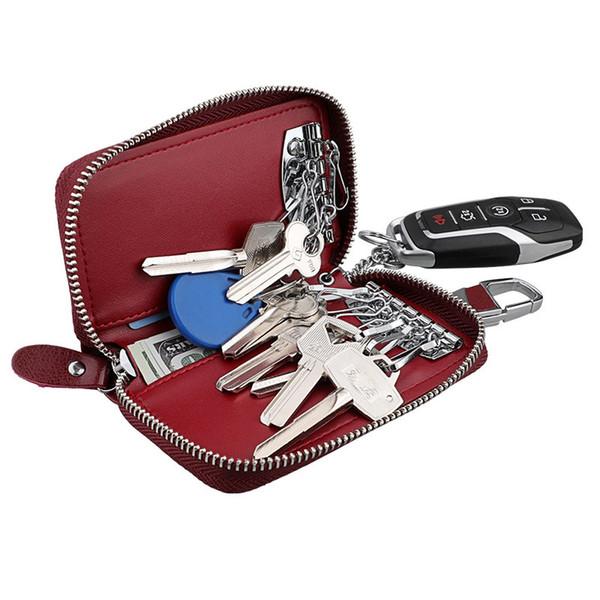 Neue Echtes Leder Männer Frauen Schlüsselhalter Organizer Kuh Leder Autoschlüssel Tasche Brieftasche Haushälterin Multifunktions Fall 6 Ringe