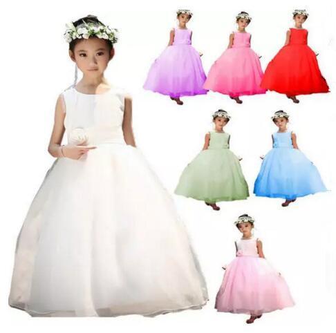 Girls Tutu Dress for Birthday Wedding Party Girls Sleeveless Princess Dress Chiffon Dress with Rose Flower Belt Ribbon Bow 7 Colors hot B11
