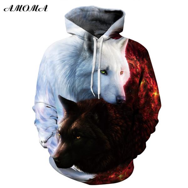 AMOMA Unisex Gerçekçi 3d Dijital Baskı Kazak Hoodie Kapşonlu Sweatshirt Taichi Kurt