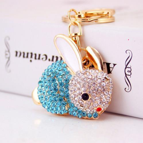 Lovely Rabbit Full Crystal Keychains Keyrings Key Chains Purse Bag Pendant For Car Women llaveros Lindo Chaveiro