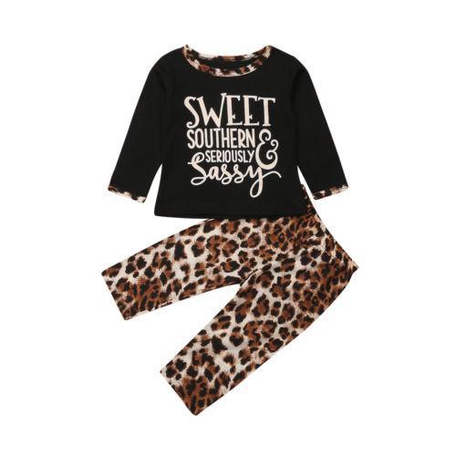 2PCS Set criança crianças Bebés Meninas Carta manga comprida T-shirt Tops Leggings Leopard Pants Algodão Moda Outono Roupas Roupas