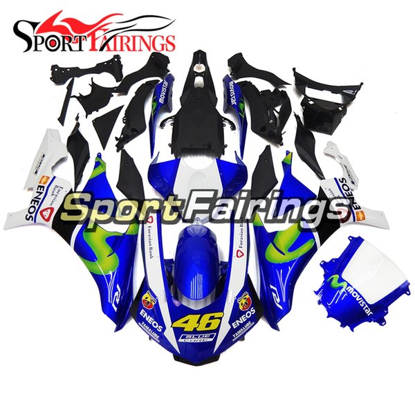 """New Blue White """"46"""" Decals Injection Full Fairings For Yamaha YZF1000 R1 2015 - 2016 15 16 ABS Plastic Motorcycle Fairing Kit Cowlings New"""