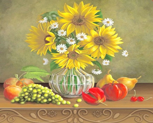 16x20 inches Sunflowers And Daisies In Glass Bottle DIY Paint On Canvas drawing By Numbers Kits Art Acrylic Oil Painting Frame