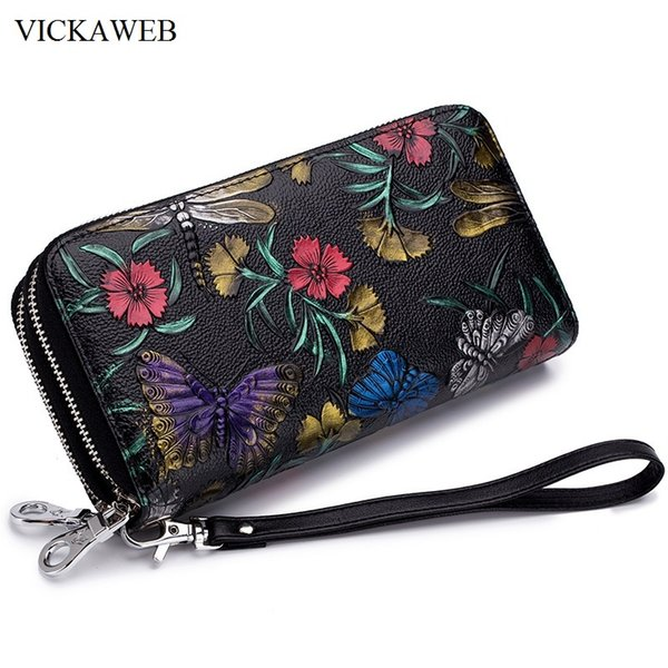 floral pattern women purse with silver zipper and lock wallet large female purses ladies genuine leather women wallets