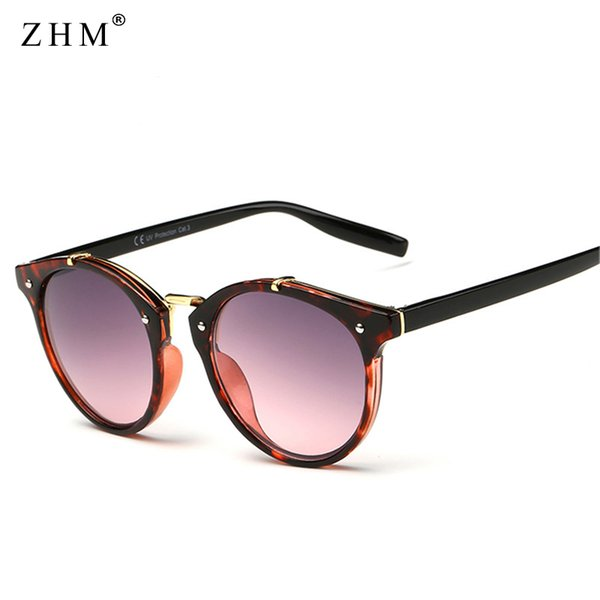 ZHM Vintage Round Rivet Sunglasses Women Men Brand Designer Eyewear UV400 Gradient Female Luxury Cat Eye Sunglasses Elegant