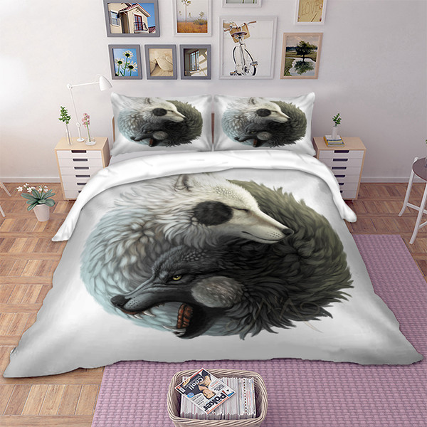 Duvet Cover Sets 3D Animal Bedding Wolf Design Pillow Cases Single Double King