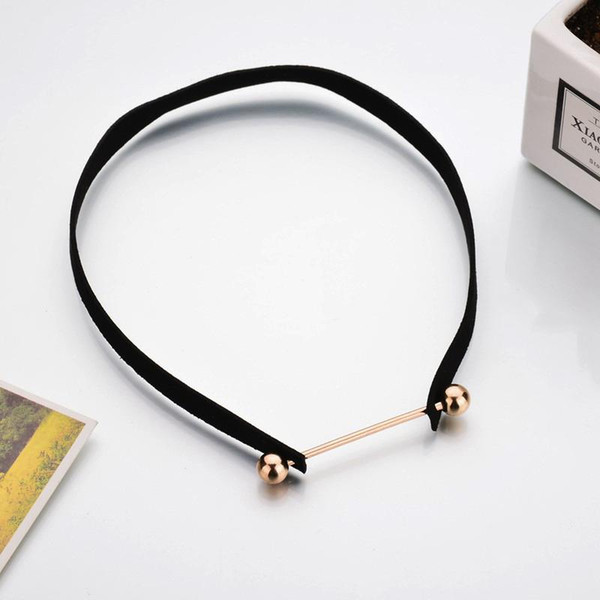 whole sale2017 New Black Velvet Choker Necklace Gold Chain Bar Chokers Necklace Suede For Women collares mujer collier ras du cou