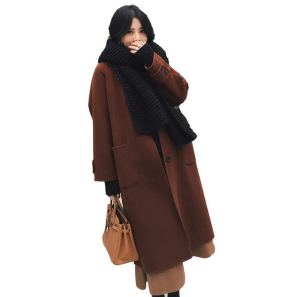 New loose over the knee woolen coat Nizi autumn and winter wear thick woolen coat female long section Korean version