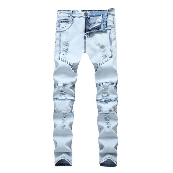 2018 nouveaux hommes de la rue de haute usure, peu profondes bleues, bleu jeans élastiques, pantalon complet de la mode de la personnalité de la réparation du corps de coton