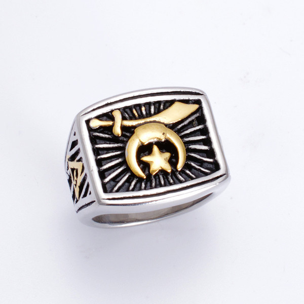 best selling Fashion Two Tone Silver Gold Stainless steel Religious Shriner Masonic rings Muslim Moon and star Jewelry Items Camel Hat Sword Shrine rings