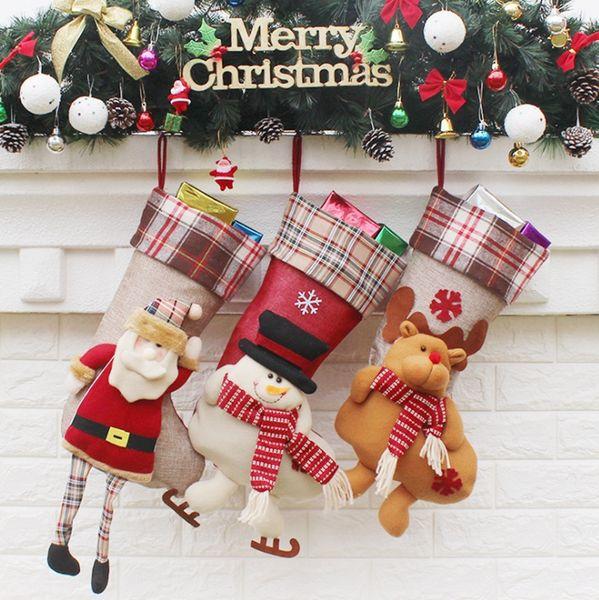 Christmas Stockings Nonwoven Fabric Santa Socks Christmas Gift Stocking Bags Xmas Decorations Tree Ornamets Party Supplies 3 Designs YW1551