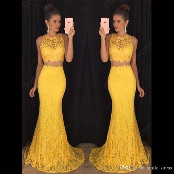 Yellow Lace Two Piece Prom Dresses 2017 Mermaid Jewel Floor Length Formal Evening Dresses Women Party Gowns SP275