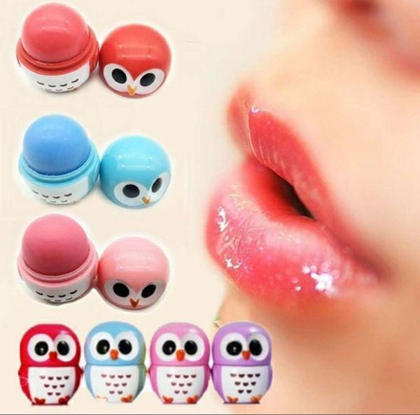 top popular Makeup Owl Candy Color Moisturizing Lip Balm Natural Plant Sphere Lip Gloss Lipstick Fruit Embellish Lip Smacker 2021