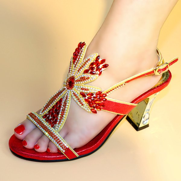 red color Whoesale Elegant Women's Shoes Nice Looking African Sandals Shoes Free Shipping