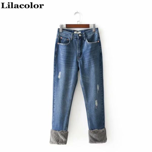 2018 Herbst Winter Chic Mittlere Taille Knöchellänge Hosen Weibliche Lässige Jeans Denim Mädchen Jeans Zerrissene Gerade Frauen Blau
