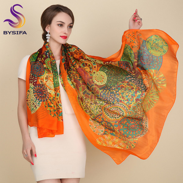 Ultralarge Spring Autumn Silk Scarf Wraps Hot Sale Female Long Scarf Cape Fashion New Design Orange Mulberry Silk Scarf Muffler S1020