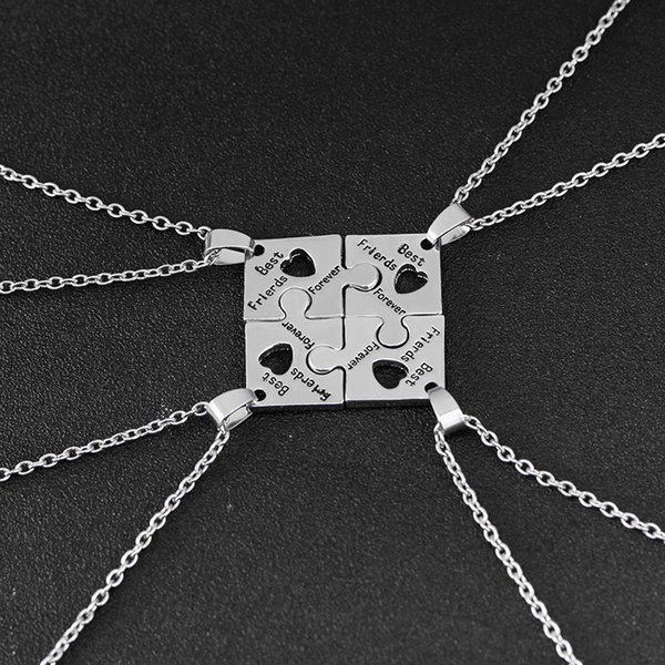 Hot 4Pcs BFF Charm Jigsaw Puzzle Pendant Necklaces Lettering 'Best Friends Forever 'Friendship Happy Birthday Gift for Women Men