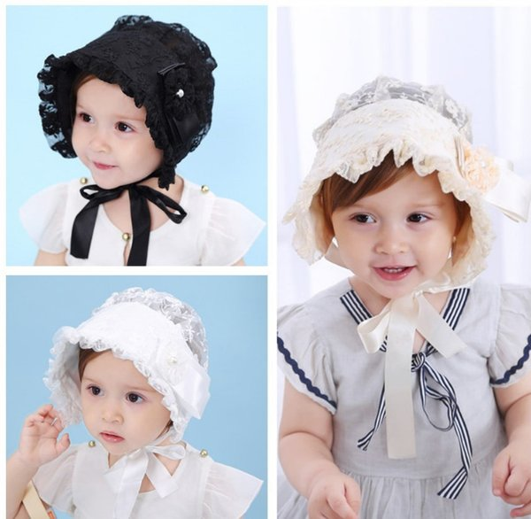 Baby lace hat sweet princess infant girls beades flowes lace embroidery falbala beanie baby girls ribbon lace-up Bows bonnet YA0350