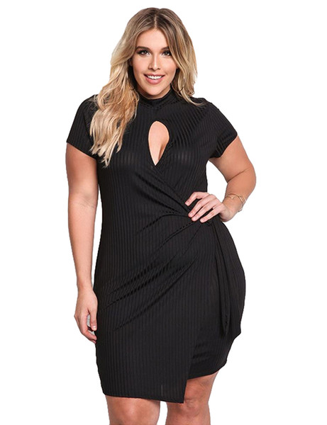 Sexy Women Plus Size Mini Dress Cutout Front Asymmetric Short Sleeve Wrap Dress Black Slim Bodycon Large Size Knitted Dress 2017