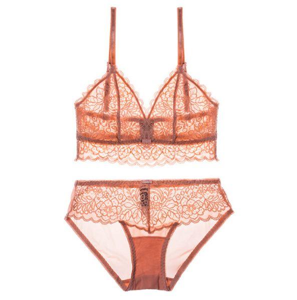Roupa das mulheres Sexy Underwear Conjuntos de Sutiãs Fios de Renda Copo Livre Oco out Bras Ajustado Correias Ultrafinos Conjuntos de 4 Cores
