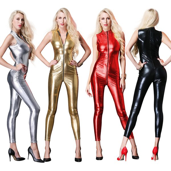 4 Colors Sexy Catsuit Costumes Open Crotch Jumpsuit Women Patent Leather Front Zipper Onesies Japanese Sleeveless Fetish AV Costumes