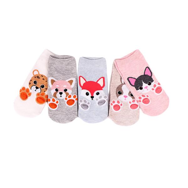 50PAIRS/LOT SINGYOU Cartoon Animal Footprint 3D Pattern Socks Women Cotton Ankle Socks Hot Sale Summer Sock Slippers
