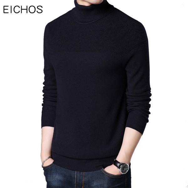 EICHOS New Winter Warm Mens Cashmere Sweater Solid Suéteres de cuello alto Hombres Slim 100% Wool Jersey Suéter de punto 1755MY