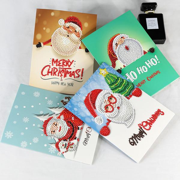Diy pintura diamante tarjetas de navidad de dibujos animados santa clause color año nuevo tarjeta de felicitación plegable creativo favor 29 8ss ww