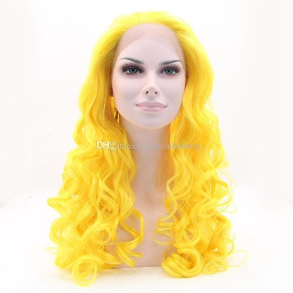 Party Natural Soft Cosplay Yellow Color Long Loose Curly Lace Front Wig Heat Resistant Synthetic Hair Glueless Lace Front Wigs for Women