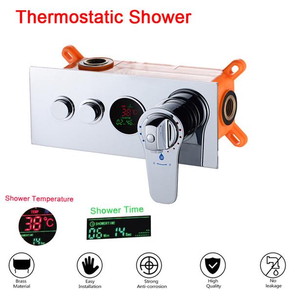 Robinet de mélange thermostatique en laiton fixé au mur de contrôleur de douche de panneau de douche de salle de bains caché de contrôleur de douche