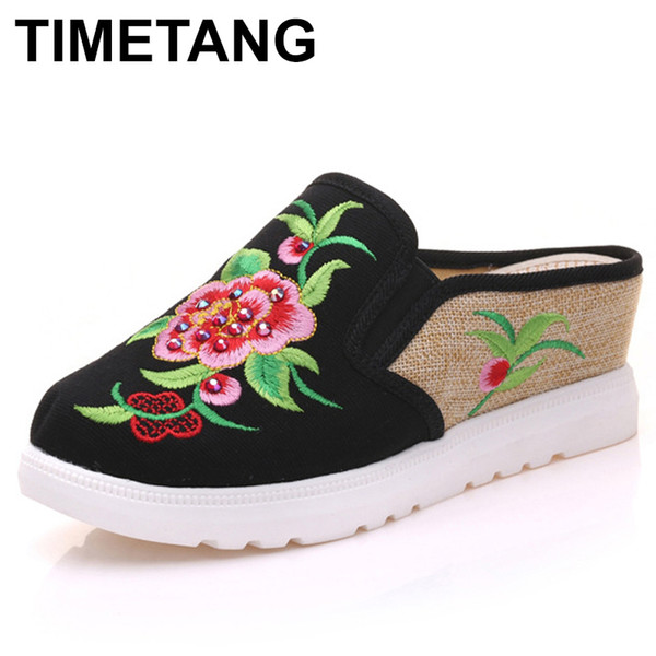 TIMETANG Vintage Women Slippers Chinese Peony Floral Embroidered Casual Sandals Comfortable Shoes Woman Chinelo FemininoE347