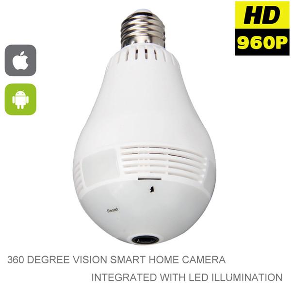 960P Wifi Panoramica telecamera a 360 gradi Wireless IP lampadina Mini fotocamera 1.3MP 3D VR sicurezza Bulb WIFI bidirezionale Audio P2P