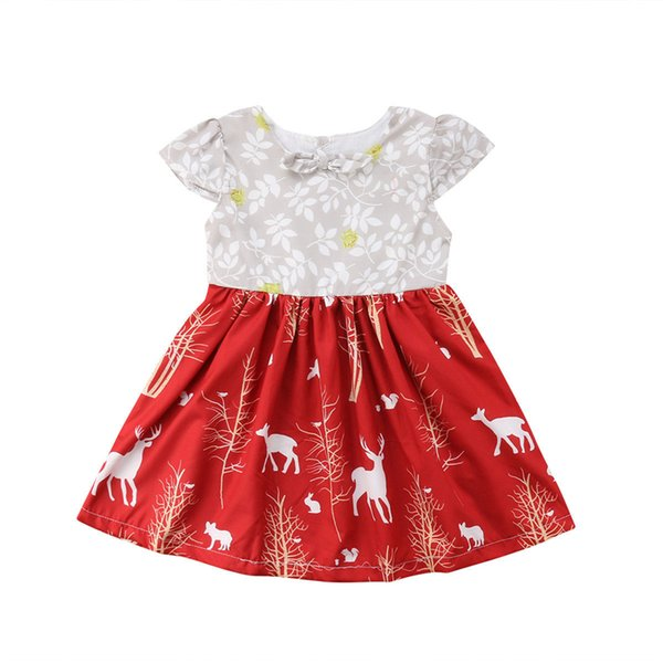 Flower Girls Xmas Dress Baby Princess Cartoon Reindeer Printed Party Pageant Tutu Dresses Toddler Girls Casual Vestidos Mujer