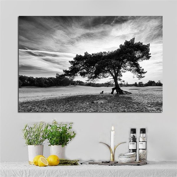 1 Piece Black And White Cloud Landscape Black Tree Poster and Prints Canvas Painting Cuadros Modern Wall Picture No Framed