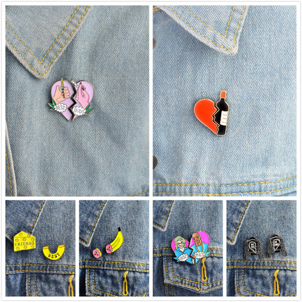 Best buds pin Best friends enamel pin Heart & wine,Macaroni & cheese,Lighter & cigarette 2 part brooch BFF jewelry Gift for her haif