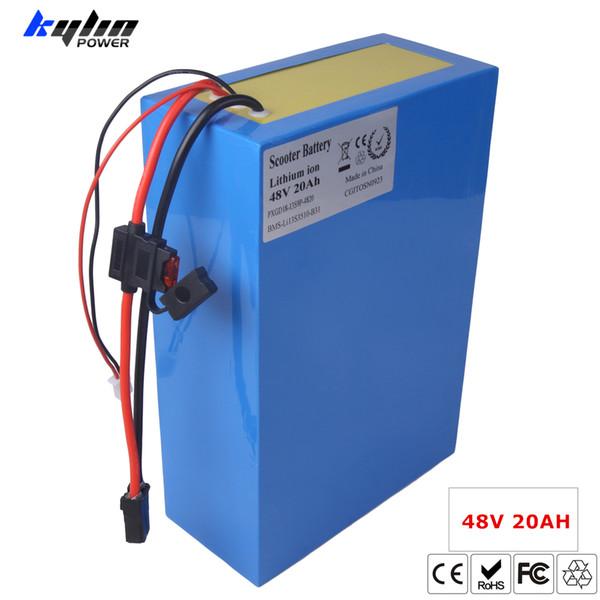 Batteria al litio per scooter elettrico al litio 48V 20AH Batteria al litio per scooter Ebike 750W 1000W E 30A BMS caricabatterie 54.6V 2A con fusibile
