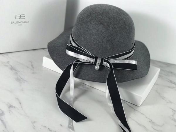 Wool Cashmere Peaked Beanie Cap Wool Yarn Hats Autumn And Winter LADIES Wide Brim Sun Hat (26680)