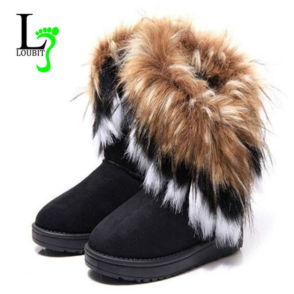 Fashion Winter Boots Women Warm Shoes Wild Snow Boots 2017 Female Footwear Slip On Flock Ankle Boot Lady Fur Shoes Mujer Zapatos